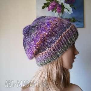 Prezent Jedwab w pastelach, rękodzieło, czapka, bezszwowa, zima, styl,