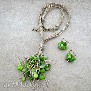 garść zieleni - komplet, len, masa, perłowa, naturalne, ekologiczne komplety