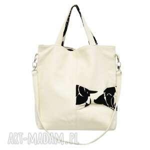 22-0008 Biała ekskluzywna torebka damska z kokardą JAY ONE, markowe-torebki