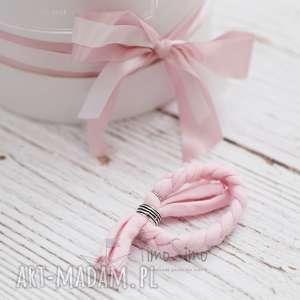Bransoletka Plecionka (Różowy), bawełna