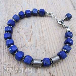 handmade sześciany lapis lazuli z satynowymi walcami