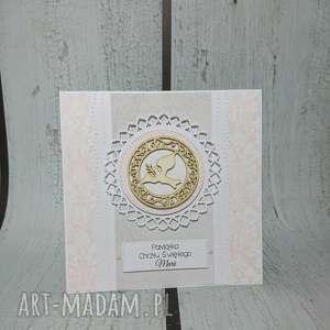 zaproszenie kartka z gołąbkiem hostią w różu - komunia, chrzest