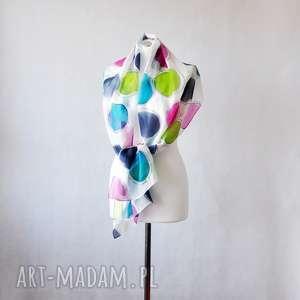 Jedwabny malowany szal w kolorowe kropki szaliki jedwab kolorowy