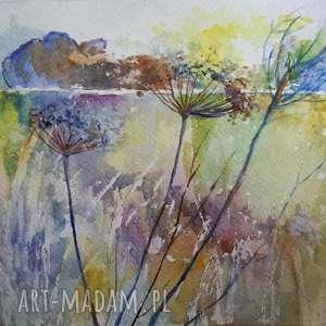 akwarela - z łąki 18/24cm, abstrakcja, łąka, papier, zieleń, romantyczna