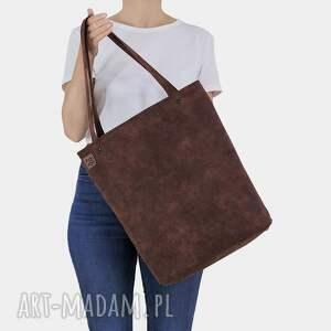 ręcznie wykonane na ramię shopper xl prosta torba kasztanowa zamek / vegan