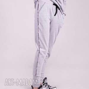 hand-made spodnie dresowe damskie ze ściagaczem -szare