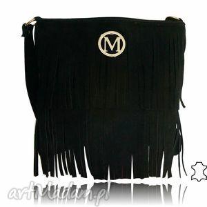 torebki listonoszka czarna z frędzlami skóra zamsz wyjątkowa frędzle -