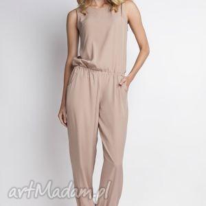 Zwiewny kombinezon, KB101 beż, casual, spodnie, rzewiewne, szerokie, letnie, beżowe