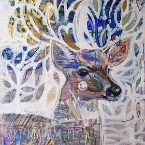 obraz oryginał na płótnie 60x80 cm - rogacz, obraz, ręcznie malowany, jeleń