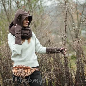 handmade rękawiczki ciepłe mitenki - brązowe