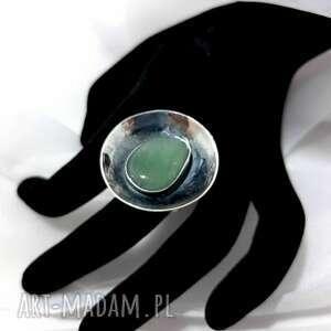 unikatowy srebrny pierścionek z kamieniem awenturyn rękodzieło
