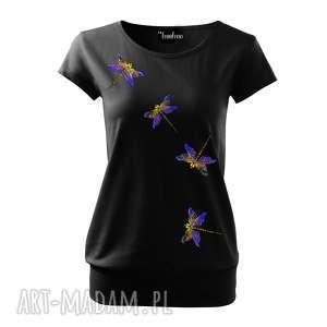 piękna bluzka z ręcznie wykonanym malunkiem - bawełna i ważki, bluzka, koszulka