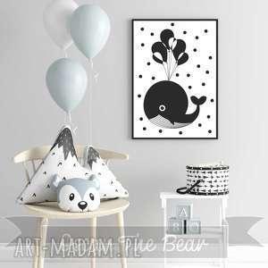 Plakat Wielorybek . Format A4, wieloryb, obrazek, czarno-biały, pokoik,