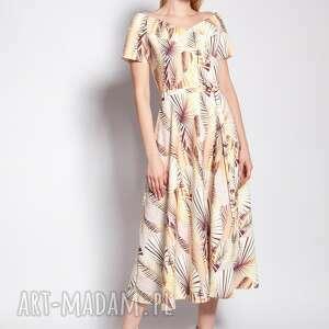 sukienki sukienka z odkrytymi ramionami, suk182 abstrakcyjne liście, carmen