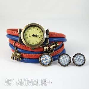 handmade zegarki komplet - słonik zegarek i kolczyki rudy, granatowy antyczny