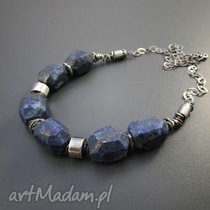 masywny naszyjnik z lapis lazuli - srebro, oksydowane, naszyjnik, lapis