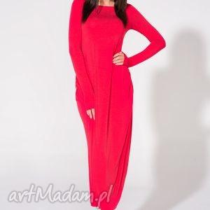 sukienki sukienka maxi, t143, czerwona, sukienka, dzianina, wiskoza, luźna
