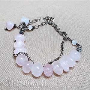 handmade bransoletka z różowego kwarcu i srebra {664}