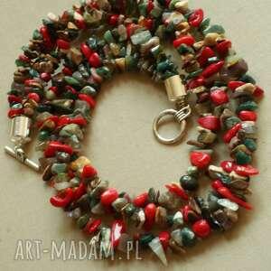handmade naszyjniki krótki naszyjnik z agatu i korala