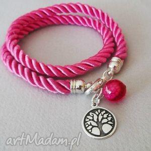 bransoletki sznur life drzewo życia, agat, bransoletka, sznur, podwójna, różowa