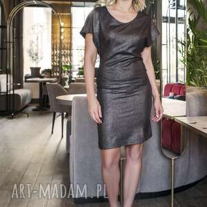 sukienka dopasowana, suk101 czarny z połyskiem, błysk, połysk, imprezowa