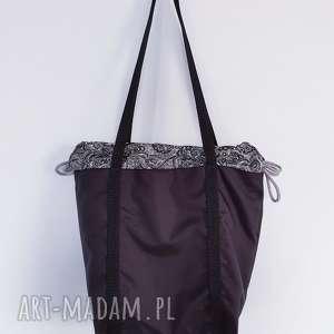 czarna torebka worek , czarna, ornament, boho, etno, worek,