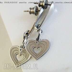 Srebro kolczyki serce w sercu anetta zimnicka serca, srebro,