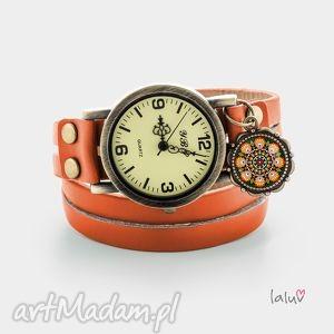 zegarki skórzany zegarek łowicki, folk, narodowy, etniczny, wzór, kwiaty, prezent