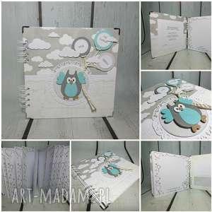 album - z sową w chmurach, sowa, chmury, chrzest, narodziny, urodziny, prezent