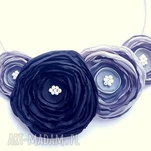 kwiatowa kolia - naszyjnik z tkaniny - kwiaty, kolia, naszyjnik, biżuteria, kobieta