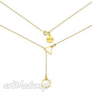 złoty regulowany naszyjnik z sześciokątem i trójkatem