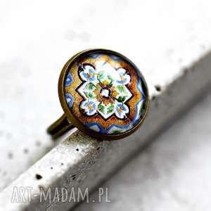 Prezent AZULEJOS Brązowy pierścionek, płytki, orienrt, retro, wzór, brąz, prezent
