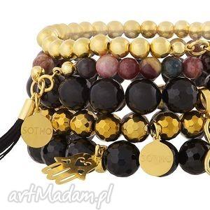 zestaw modowych bransoletek gold black z turmalinem i chwostem komplet fashion, onyks