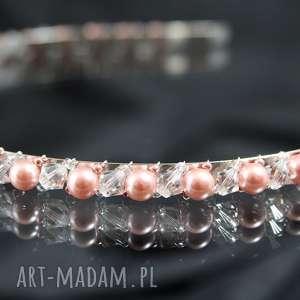 Opaska do włosów ozdoby selenit swarovski, kryształ, perły