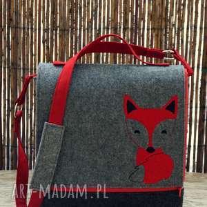 Prezent Filcowa torba z haftem, torba, lis, groszki, prezent, fox