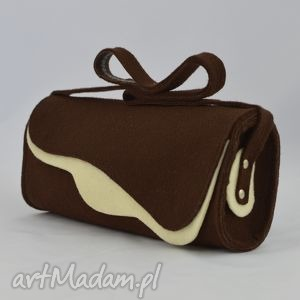 Filcowa torebka na ramię - brąz z ecru- Promocja, filc, falbana, fantazja,
