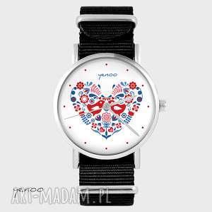 zegarek - folkowe ptaszki czarny, nato, zegarek, bransoletka, folkowy