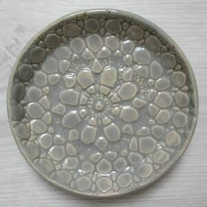 ceramika koronkowa mydelniczka w szarości, mydelniczka, ceramiczna