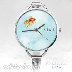 ręcznie zrobione pomysł na prezent zegarek, bransoletka - złota rybka pastel dream