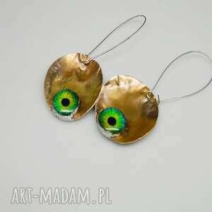 zielone oko saurona-k37, oko, szkło, miedziane kolczyki, unikatowa biżuteria