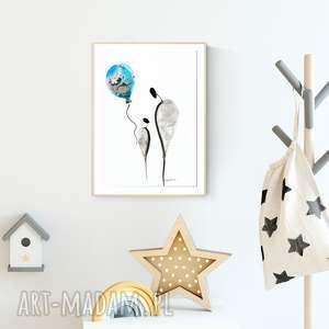 Prezent obrazek namalowany ręcznie 30 x 40 cm, ilustracja dla dzieci, plakat pokoik