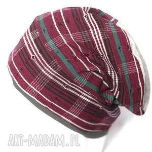 Prezent czapka damska bordowa w kratkę, czapka, kratka, miękka, ciepła,