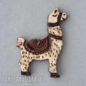 kopalnia ciepla alpaka-broszka ceramiczna, minimalizm, lama, alpaka, design