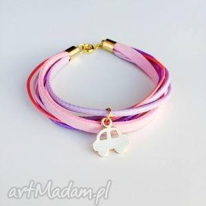 bransoletka dla dziewczynki samochodzik, pastelowa, różowa, bransoletka, rzemień