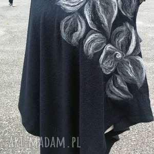 ręcznie robione poncho z dzianiny wełnianej czarne