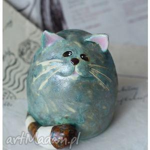 kot z ogonkiem w paski, kot, ceramika