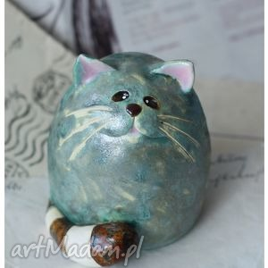 hand-made ceramika kot z ogonkiem w paski