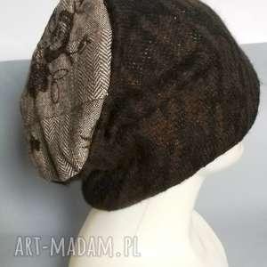 czapka damska ciepła wełniana z kwiatami, czapka, wełna, etno, boho, zimowa