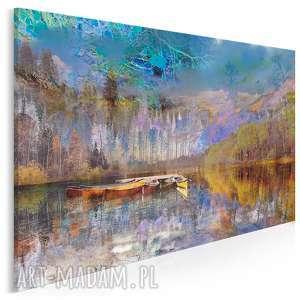 Obraz na płótnie - PEJZAŻ GÓRY 120x80 cm (30701), pejzaż, krajobraz, łódź, góry,