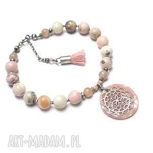 Boho antique pink - bransoletka katia i krokodyl srebro